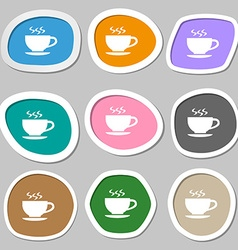 The tea and cup symbols Multicolored paper vector image