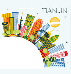 tianjin china city skyline with color buildings vector image
