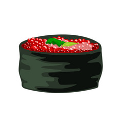 Traditional japanese roll stuffed with tobiko vector