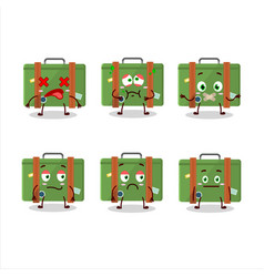 Traveling suitcase character with nope expression vector