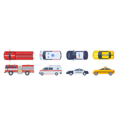 vehicle set transport top view police car vector image