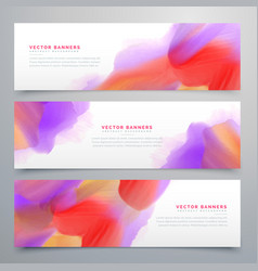 Vibrant watercolor web headers set background vector