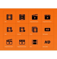 Video icons on orange background vector image