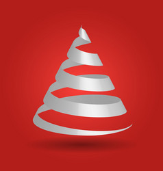 white paper ribbon folded in a shape of christmas vector image