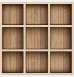 wooden empty bookshelf or tool box shelves for vector image