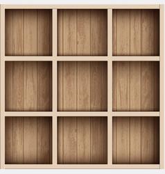Wooden empty bookshelf or tool box shelves vector