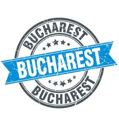 Bucharest blue round grunge vintage ribbon stamp vector