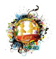 colorful valentines emblem vector image vector image