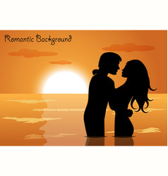 couple in love at sunset vector image vector image