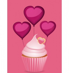 cupcake and heart shaped balloons vector image vector image