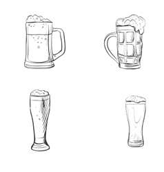 doodle beer glasses vector image
