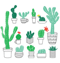 doodle collection of cute potted cactuses vector image vector image