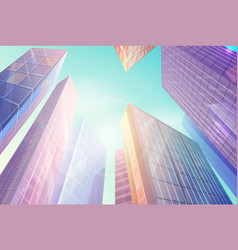 skyscrapers with windows that shines under sun vector image