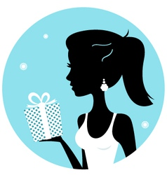 Beautiful woman silhouette with gift vector image vector image