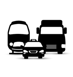 collection silhouettes cars transport service vector image