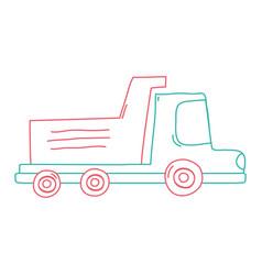 color line dump truck industry and contruccion vector image vector image