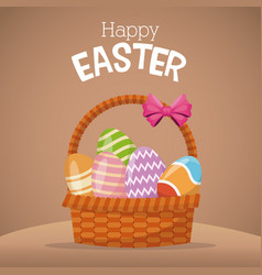 happy easter card basket egg vector image vector image