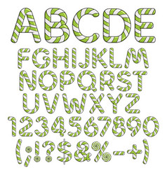 alphabet numbers and signs from mint sweets vector image vector image