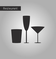 black and white style icon glasses for wine and vector image