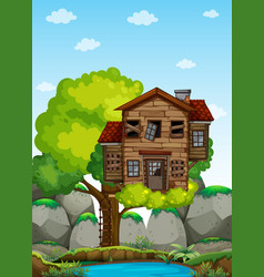 old wooden treehouse on the tree vector image vector image