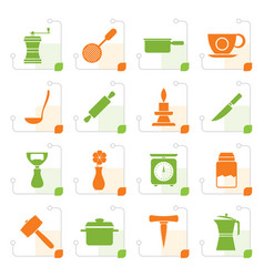 stylized kitchen and household tools icons vector image vector image