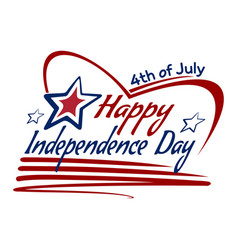 us independence day lettering card design vector image
