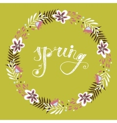 Floral frame Beautiful wreath made of hand drawn vector image vector image
