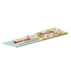 low poly lng terminal and lng carrier ship vector image vector image