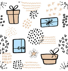 seamless pattern with cute gift box hand drawn vector image vector image