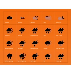 Weather icons on orange background vector