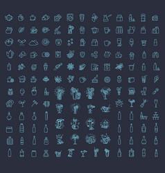 147 drinks thin icon set vector image