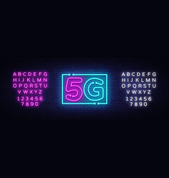 5g new wireless internet wifi connection neon sign vector