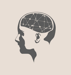 A woman head with brain vector