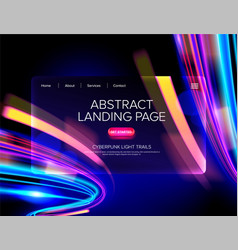 Abstract cyberpunk landing page vector