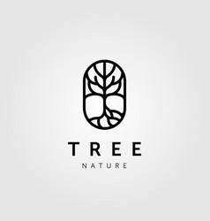 Abstract line tree nature logo icon design vector