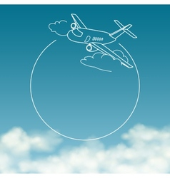 Airplane on background of cloudy sky with space vector image