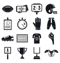 American football icons set simple style vector