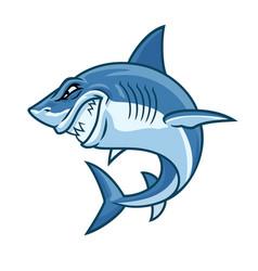 Angry cartoon shark character vector