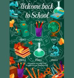 Back to school chalkboard pattern poster vector