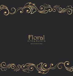beautiful golden floral border on black background vector image