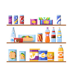 Beverage food on shelves fast food snacks vector