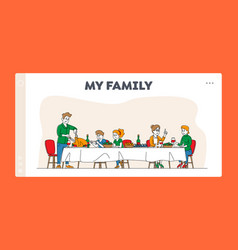 Big family feast landing page template vector