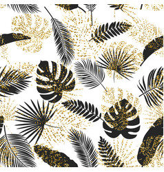 black and golden tropical leaves seamless vector image