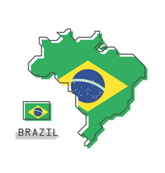 brazil map and flag modern simple line cartoon vector image