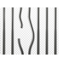 broken prison bars jail break concept vector image