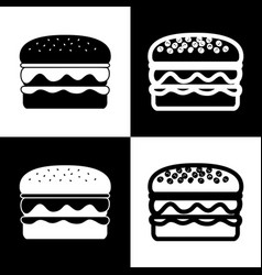 burger simple sign black and white icons vector image