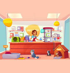 Buying animals in pet store cartoon concept vector