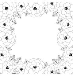 Camellia flower outline frame border vector