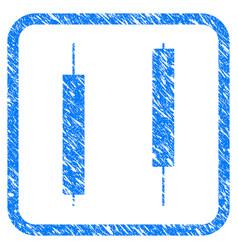 Candlesticks framed stamp vector