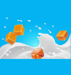 Caramel pieces in milk splash realistic vector